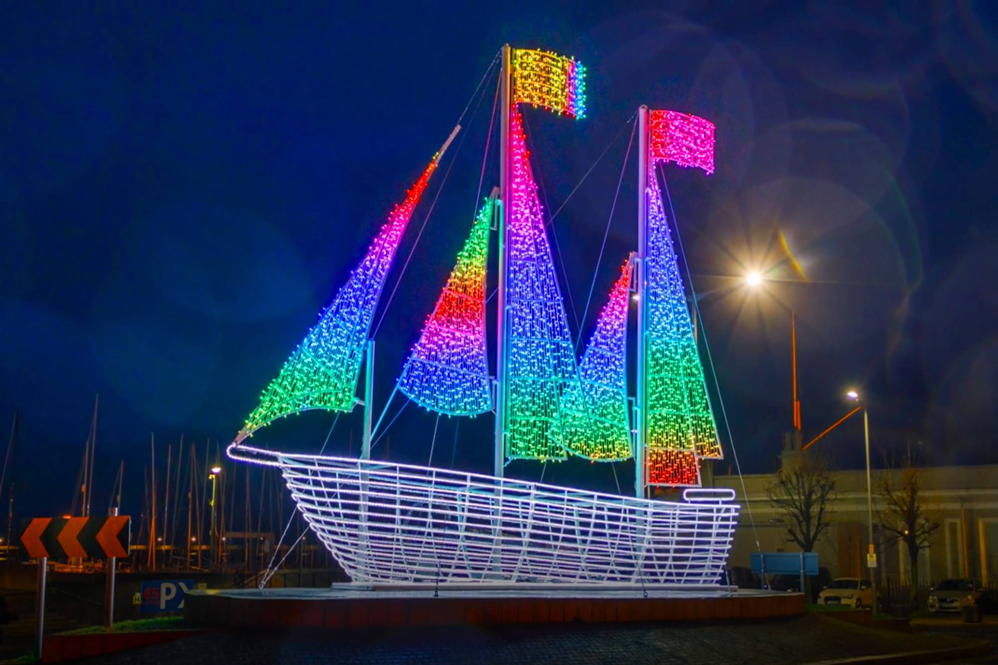 Dun Laoghaire Harbour Ship Twinkly Pro Lighting